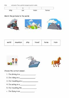 Interactive worksheet Over the Mountains