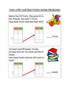 Interactive worksheet Two step subtraction word problems