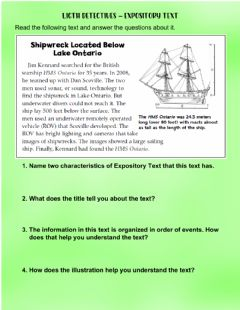 Interactive worksheet Expository Text Light Detectives