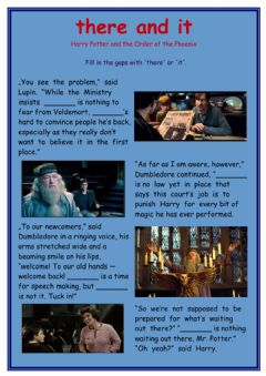 Interactive worksheet There it in Harry Potter book