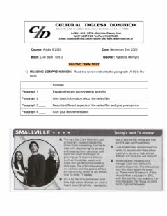 Interactive worksheet Second term test - adults 6 2020