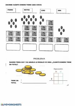 Interactive worksheet Jugamos con dinero