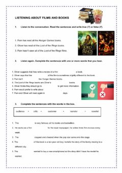 Interactive worksheet Listening comprehension about books and films