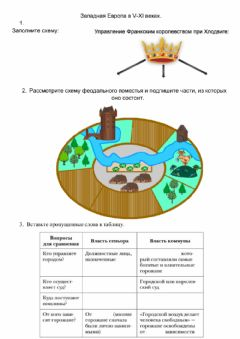 Interactive worksheet Западная Европа в V-XI веках.