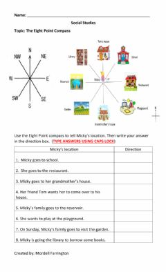 Interactive worksheet Eight Point Compass