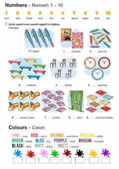 Ficha interactiva Numbers and Colours