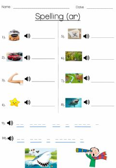 Interactive worksheet Spelling -ar- words