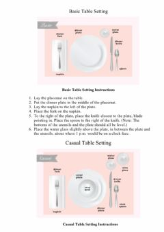 Interactive worksheet Table setting