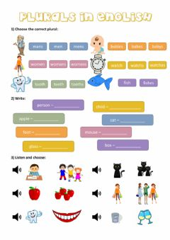 Interactive worksheet Plurals in English
