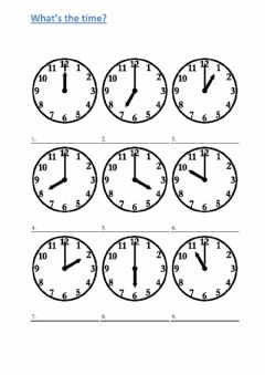 Interactive worksheet What's the time - o'clock 1
