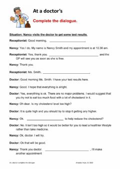 Interactive worksheet a dialogue at the doctor's