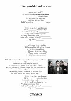 Interactive worksheet Lifestyle of the rich and famou by Good Charlotte