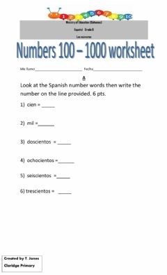 Interactive worksheet Numbers in Spanish 100 to 1,000