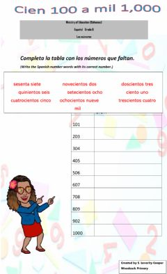 Interactive worksheet Numbers in Spanish 100 to 1,000 Level 2