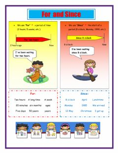 Interactive worksheet Since and For