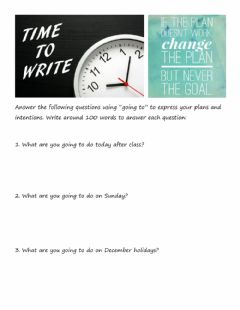 Interactive worksheet Going to - Writing