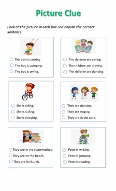 Interactive worksheet Picture Clues