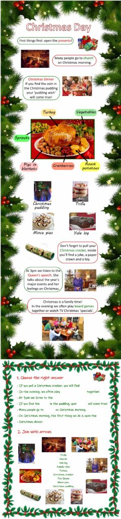 Interactive worksheet Christmas Day and Christmas Dinner