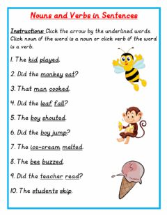 Interactive worksheet Nouns and Verbs in Sentences