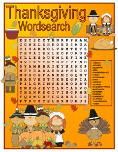Interactive worksheet Thanksgiving Wordsearch
