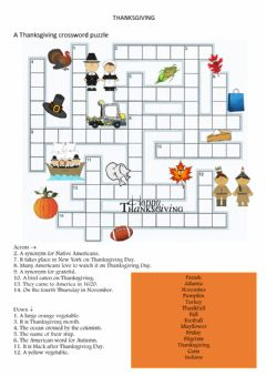 Interactive worksheet Thanksgiving Crossword