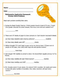 Interactive worksheet Application-Division Word Problems