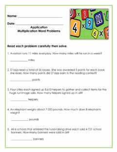 Interactive worksheet Application-Multiplication Word Problems