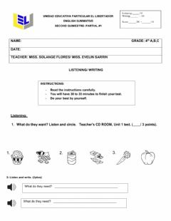 Interactive worksheet Listening and writing