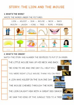Interactive worksheet Story: The Lion and the Mouse
