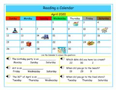 Interactive worksheet Reading a Calendar