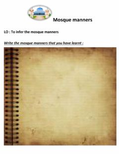 Interactive worksheet Mosque manners