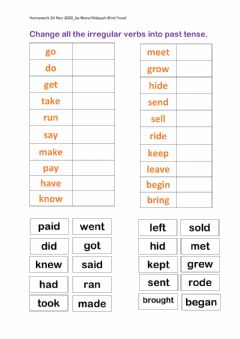 Interactive worksheet Irregular Verbs: Past Tense