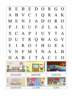 Interactive worksheet Parts de la casa - sopa de lletres