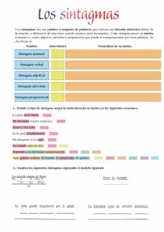 Interactive worksheet Los sintagmas