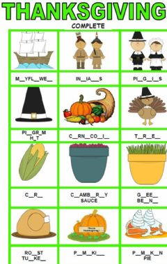 Interactive worksheet Thanksgiving dictionary