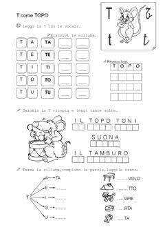 Interactive worksheet Lettera t