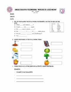 Interactive worksheet Food sentences and questions