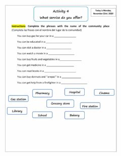 Interactive worksheet Places in the community