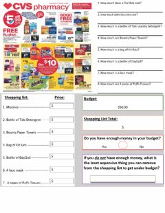 Ficha interactiva CVS Pharmacy Circular Math and Budgeting