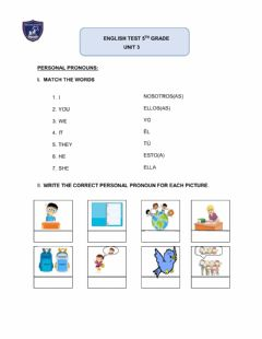 Interactive worksheet English test 5° grade