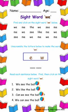 Interactive worksheet Sight Word 'we'