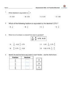 Interactive worksheet 5.2 Fractions-Decimals Assessment
