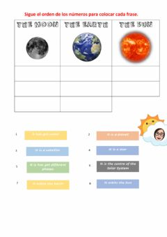 Interactive worksheet Moon, Earth and sun
