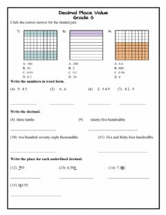 Interactive worksheet Decimal Place Value Intro g6
