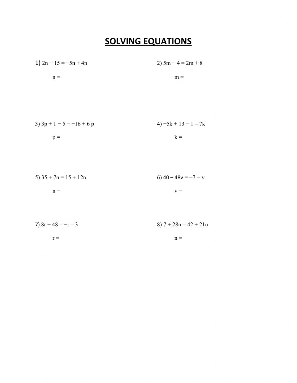 Multi-step equations worksheet Throughout One Step Equations Worksheet Pdf