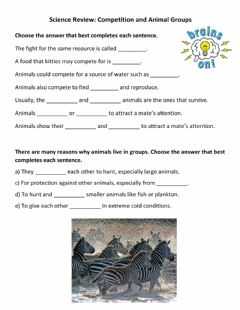 Interactive worksheet Science Review: Competition and Animal Groups