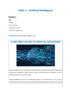 Interactive worksheet Unit 1 Reading 3 Artificial Intelligence