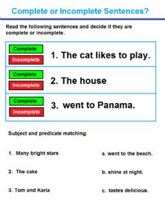 Interactive worksheet Complete and incomplete sentences