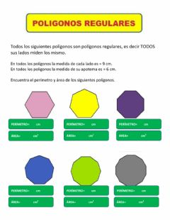 Interactive worksheet Perímetro y área de polígonos regulares