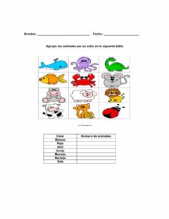 Ficha interactiva Animales por color